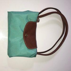 Aquamarine medium Longchamp le pliage purse tote